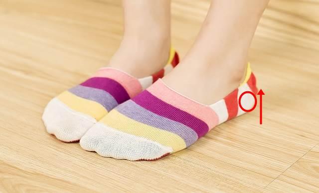 靴下の編み地の縦方向